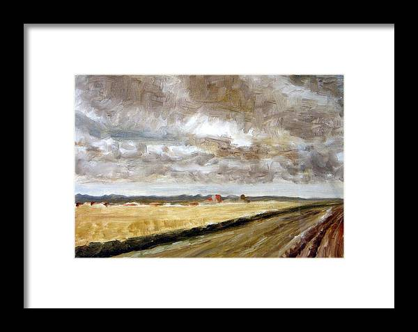 Landscape Framed Print featuring the painting Vanishing Point by Ujjagar Singh Wassan