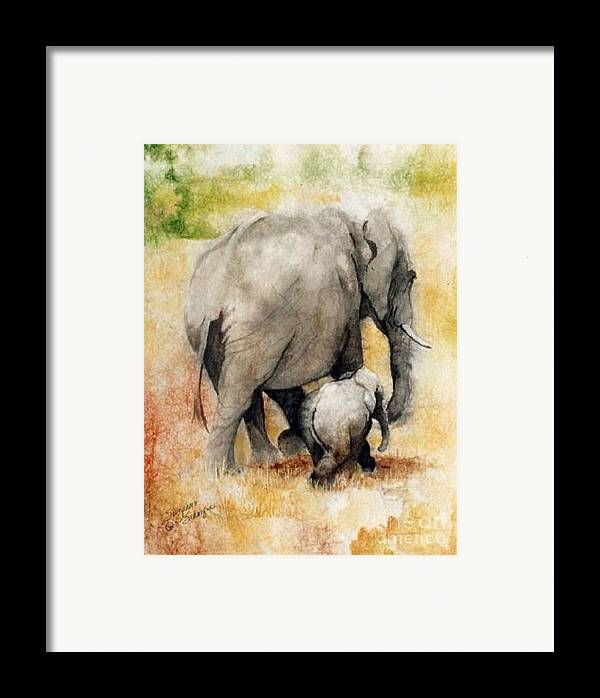 Elephants Framed Print featuring the painting Vanishing Thunder Series - Mama And Baby Elephant by Suzanne Schaefer
