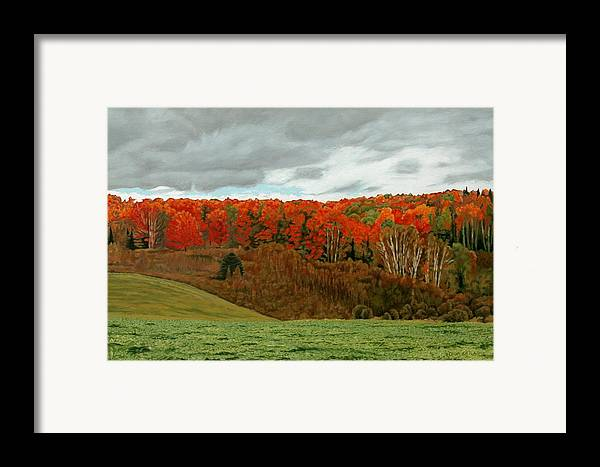 Landscape Framed Print featuring the painting Vardy Settlement Colour by Allan OMarra