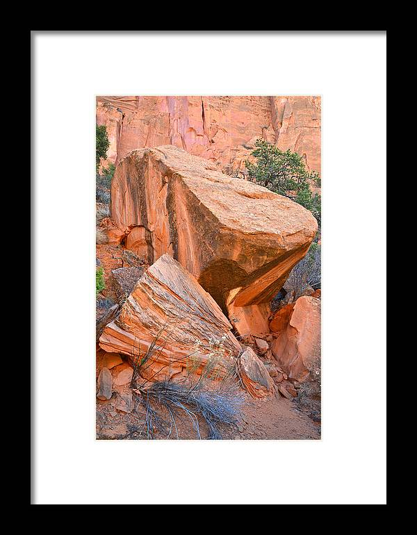 Grand Staircase Escalante National Monument Framed Print featuring the photograph Varnished Boulders by Ray Mathis
