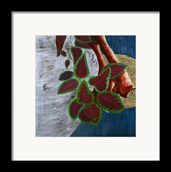 Floral Framed Print featuring the painting Vase And Denim by Sunhee Kim Jung