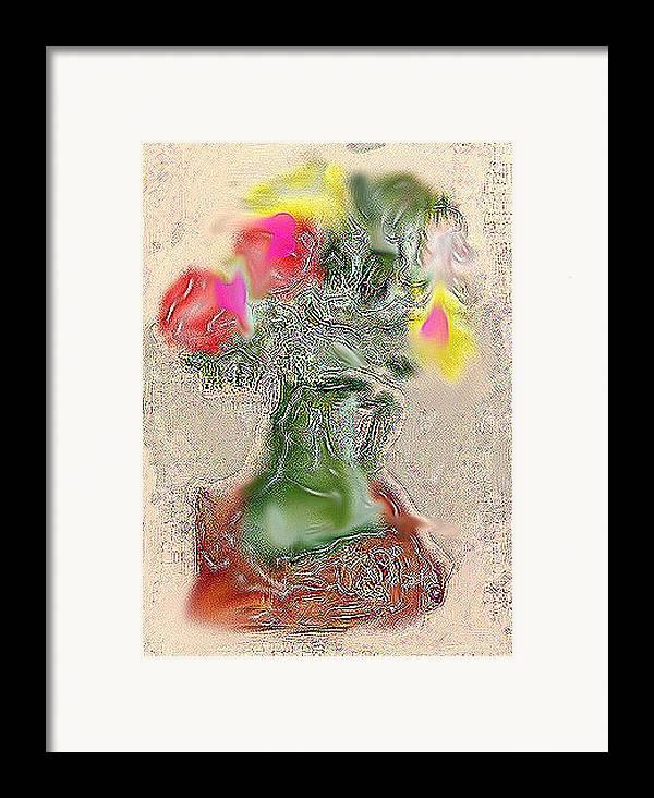 Still Life Framed Print featuring the mixed media Vase by Joyce Goldin