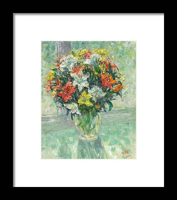 Vase Lilies Painting Framed Print featuring the painting Vase Lilies Painting by Zhang Chongqing