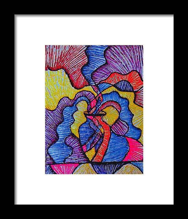 Vivid Colors Framed Print featuring the painting Vase Of Air by Brenda Adams
