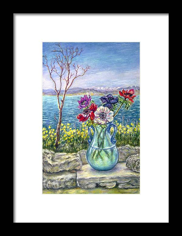 Flowers Landscape Seascape Greece Framed Print featuring the painting Vase Of Anemones With View Of Nafplio by Patricia Buckley
