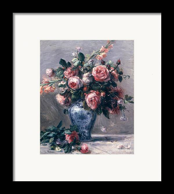 Vase Framed Print featuring the painting Vase Of Roses by Pierre Auguste Renoir