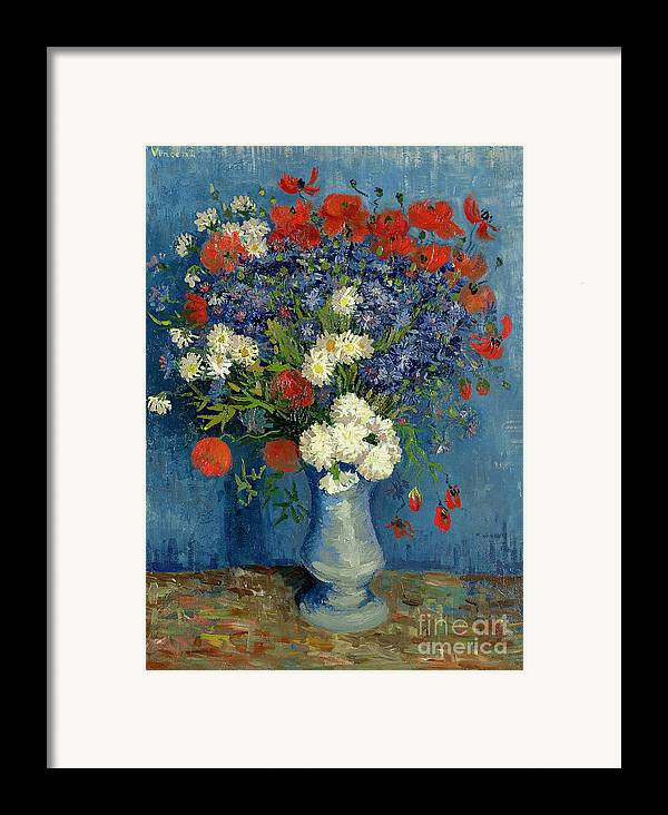 Still Framed Print featuring the painting Vase With Cornflowers And Poppies by Vincent Van Gogh
