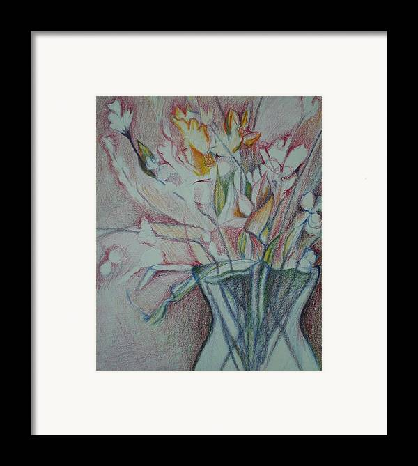 Framed Print featuring the drawing Vase With Flowers by Aleksandra Buha