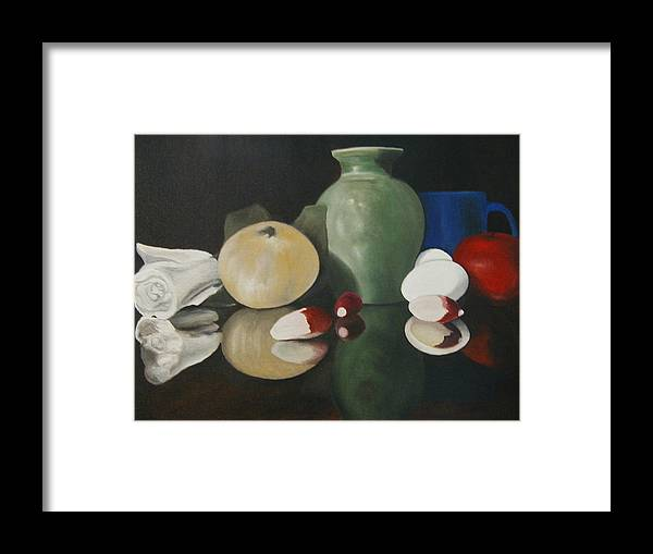 Still Life Framed Print featuring the painting Vase With Radishes by Angelo Thomas