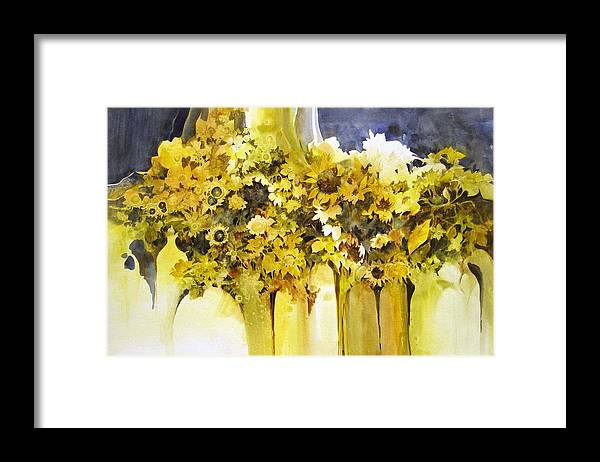 Yellow Flowers;sunflowers;vases;floral;contemporary Floral; Framed Print featuring the painting Vases Full Of Blooms  by Lois Mountz