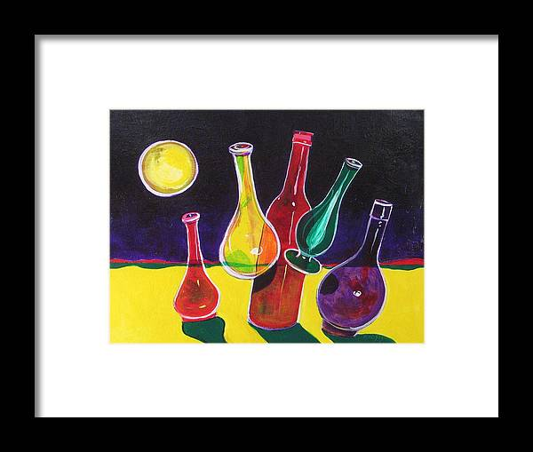 Space Framed Print featuring the painting Vases In Space - Still Life 12 by Rollin Kocsis