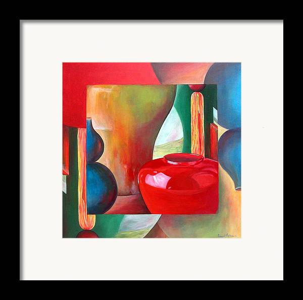Still Life Framed Print featuring the painting Vases by Muriel Dolemieux