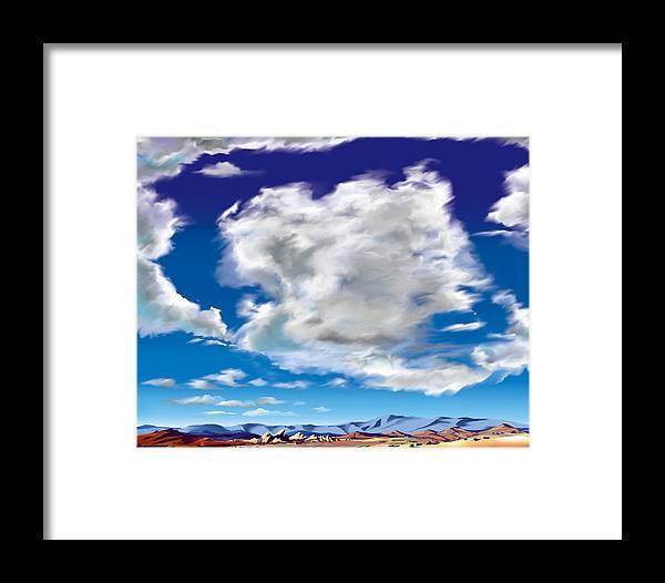 Vasquez Rocks Framed Print featuring the painting Vasquez Cloud by Steve Beaumont
