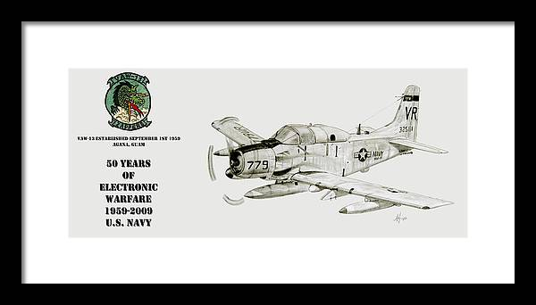 Zappers Framed Print featuring the drawing Vaw-13 50 Years Of Ecm by Nicholas Linehan