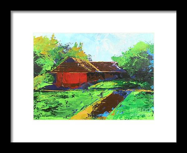 Home Framed Print featuring the painting Veedu by Teenu Jacob