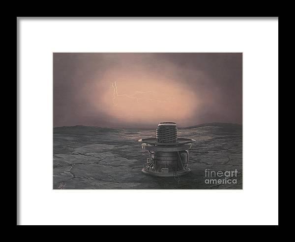 Venus Framed Print featuring the painting Vega 2 Lander On Venus by James Hervat