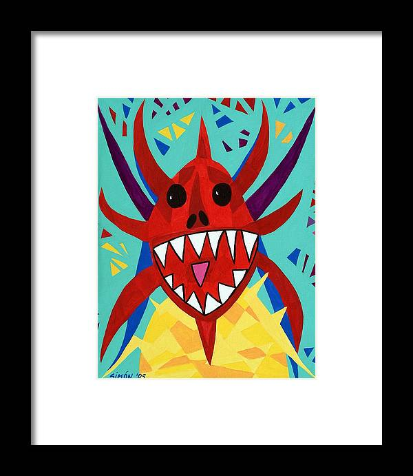 Puerto Rico Framed Print featuring the painting Vegigante Red by Lourdes SIMON