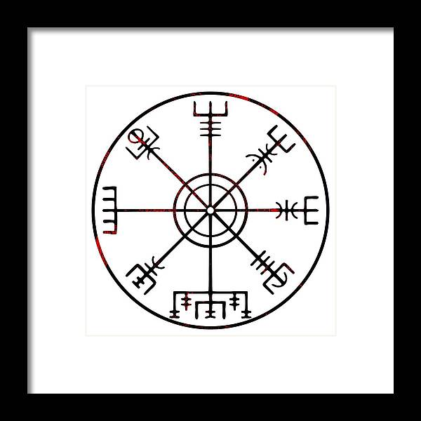 Icelandic Framed Print featuring the digital art Vegvisir Icelandic Stave by Early Kirky