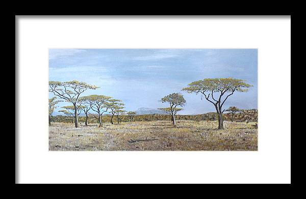 African Veldt Framed Print featuring the painting Veldt by Dan Bozich