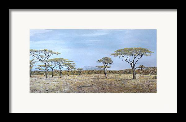 African Veldt Framed Print featuring the painting Veldt by Dan Bozich