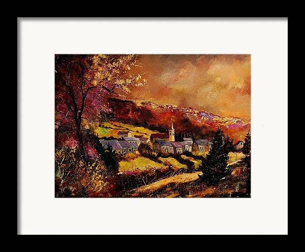 River Framed Print featuring the painting Vencimont Village Ardennes by Pol Ledent