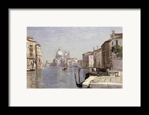 Venice Framed Print featuring the painting Venice - View Of Campo Della Carita Looking Towards The Dome Of The Salute by Jean Baptiste Camille Corot