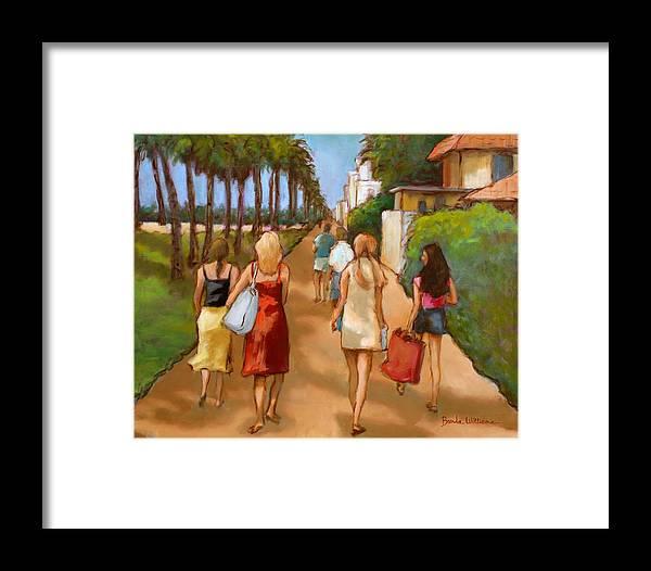 Girls Framed Print featuring the painting Venice Beach Promenade by Brenda Williams