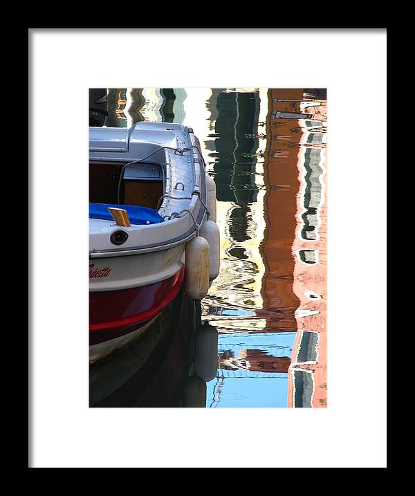 Venice Framed Print featuring the photograph Venice Boat Reflection by Jeff White