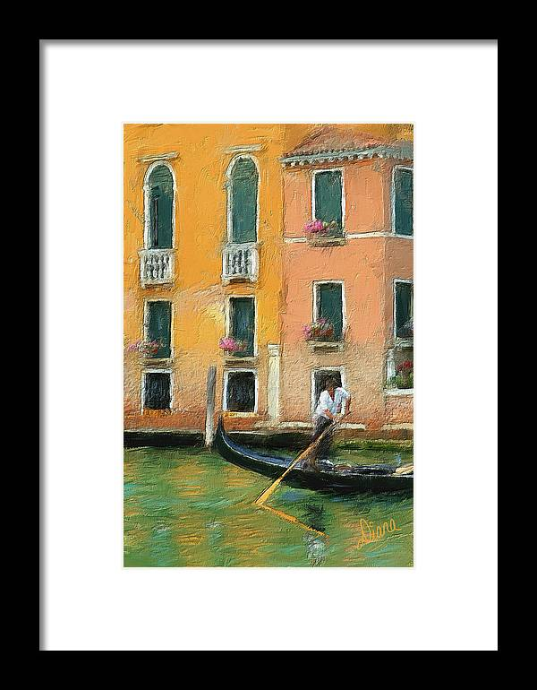 Venice Framed Print featuring the painting Venice Canal Boat by Diana Ralph