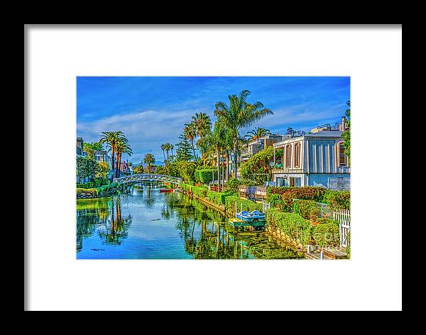 Venice Canals Framed Print featuring the photograph Venice Canals And Houses 4 by David Zanzinger