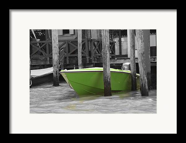 Italy Framed Print featuring the photograph Venice Canals Green Boat by Greg Sharpe