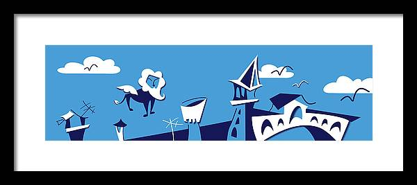 Mary Poppins Framed Print featuring the digital art Venice City Skyline - Vector Silhouette by Arte Venezia