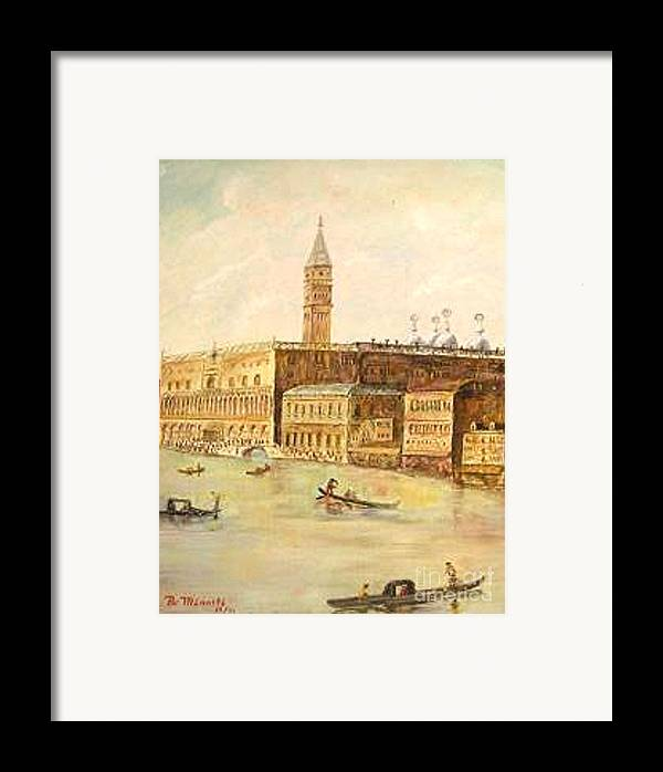 Citiscape Framed Print featuring the painting Venice From Grand Canal by Nicholas Minniti
