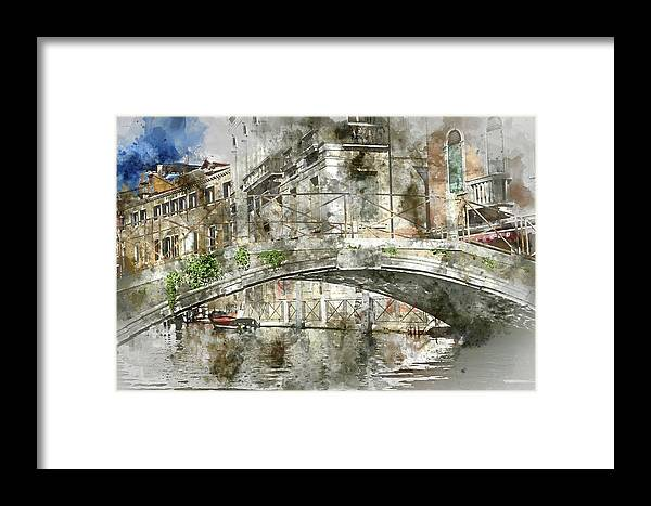Architecture Framed Print featuring the painting Venice Italy Digital Watercolor On Photograph by Brandon Bourdages