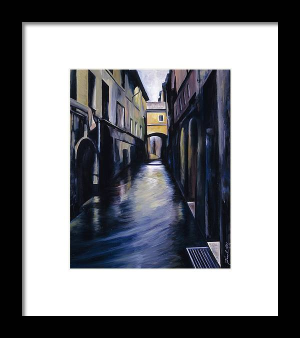 Street; Canal; Venice ; Desert; Abandoned; Delapidated; Lost; Highway; Route 66; Road; Vacancy; Run-down; Building; Old Signage; Nastalgia; Vintage; James Christopher Hill; Jameshillgallery.com; Foliage; Sky; Realism; Oils Framed Print featuring the painting Venice by James Christopher Hill
