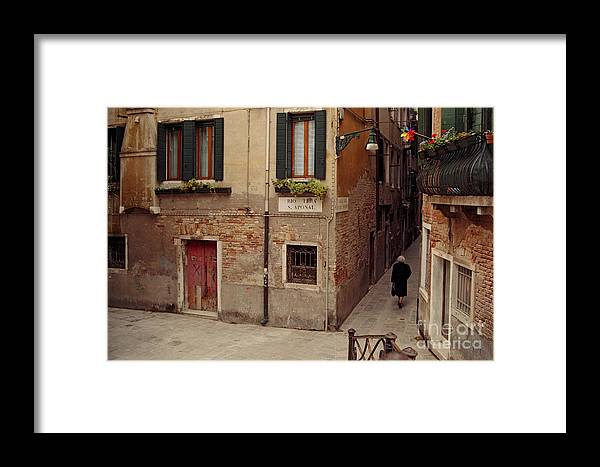 Travel Framed Print featuring the photograph Venice Lady In Black by Lawrence Costales