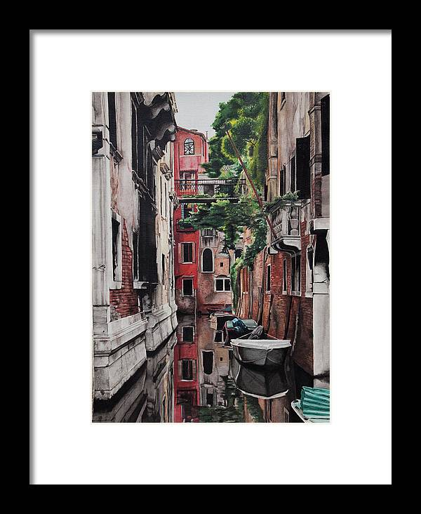 Italy Framed Print featuring the painting Venice by Lamark Crosby