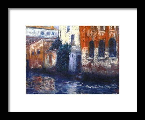 Venice Canals Old World Framed Print featuring the pastel Venice Reflections by Pat Snook