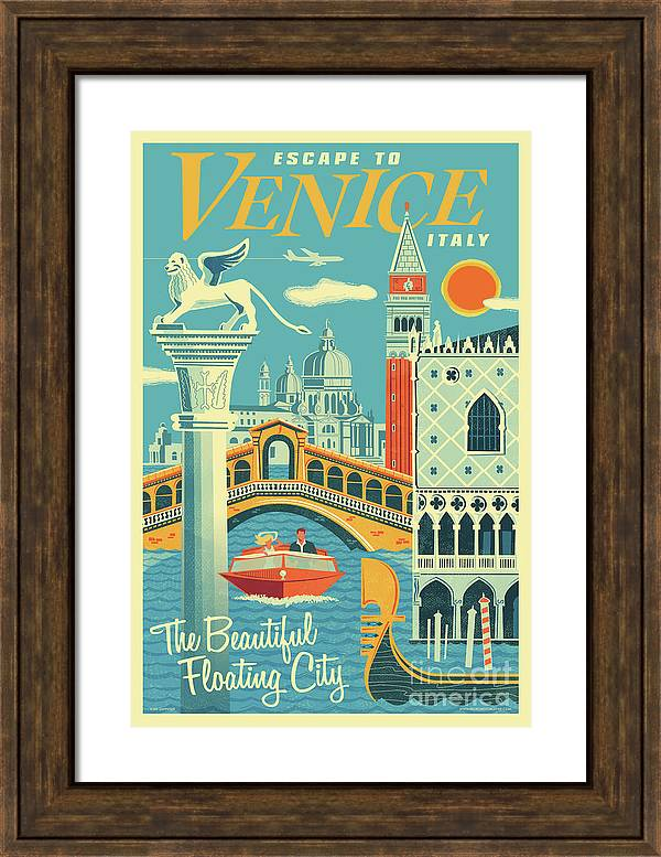 Venice Poster - Retro Travel  by Jim Zahniser