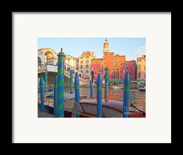 Venice Framed Print featuring the photograph Venice Rialto Bridge by Heiko Koehrer-Wagner