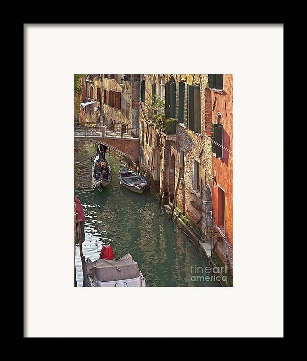 Venice Framed Print featuring the photograph Venice Ride With Gondola by Heiko Koehrer-Wagner