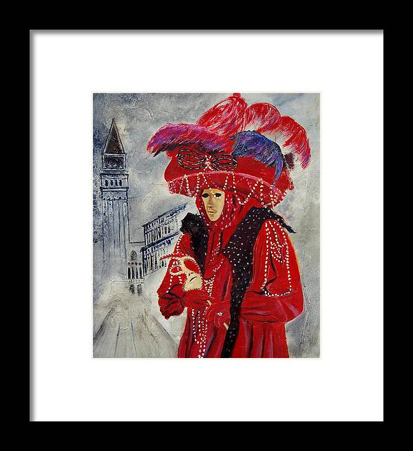 Venice Framed Print featuring the painting Venitian Mask 0130 by Pol Ledent