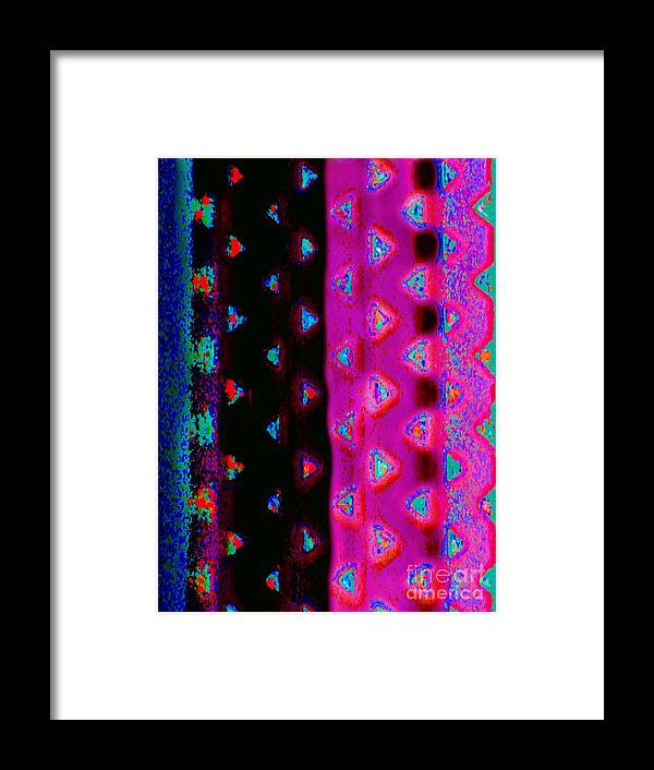 Contemporary Digital Art( Redundant Eh ?) Photo Manipulation. Colorful Stripes Speckled With Colorful Triangles Framed Print featuring the digital art Vent Lace by Expressionistart studio Priscilla Batzell