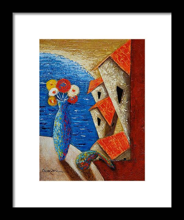 Landscape Framed Print featuring the painting Ventana Al Mar by Oscar Ortiz