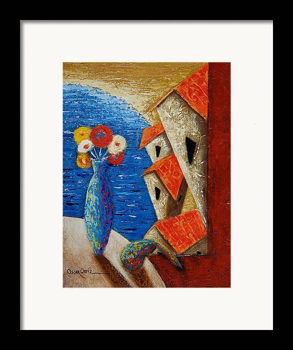Landscape Framed Print featuring the painting Ventana Al Mar by Oscar Ortiz