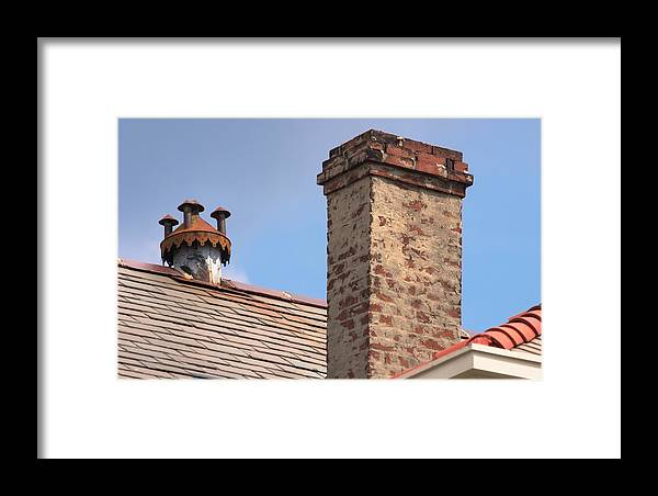 Roof Framed Print featuring the photograph Ventilator Chimney Sky by Grant Groberg