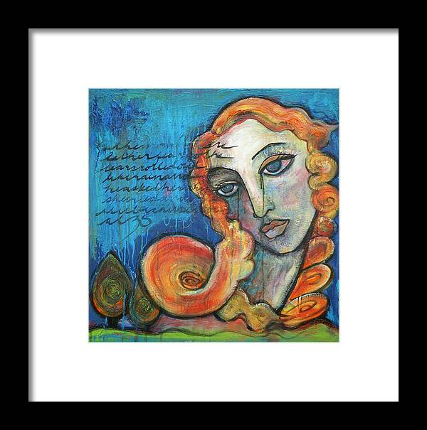 Venus Framed Print featuring the painting Venus Lets Go by Laurie Maves ART