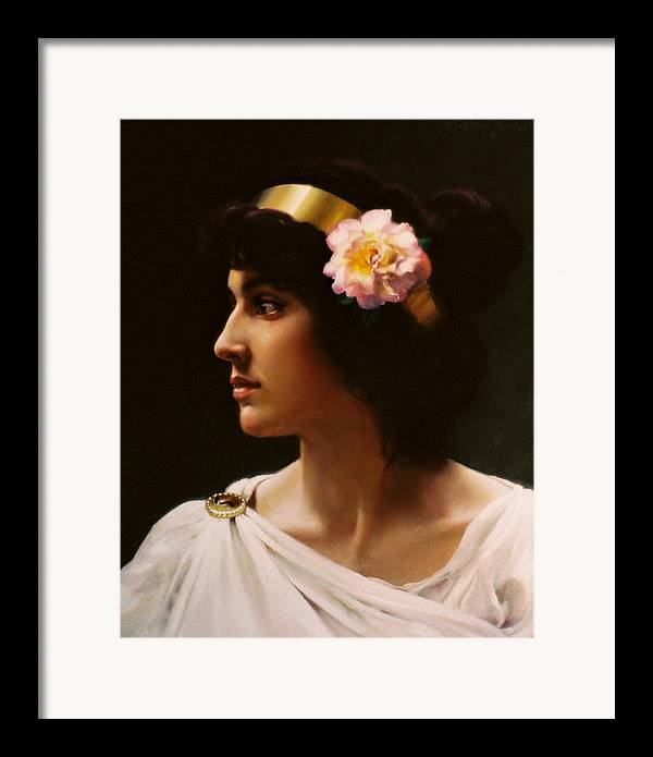 Goddess Framed Print featuring the painting Venus Of The Pink Rose   My Version Inspired By A Work Of Bouguereau by Stephen Lucas