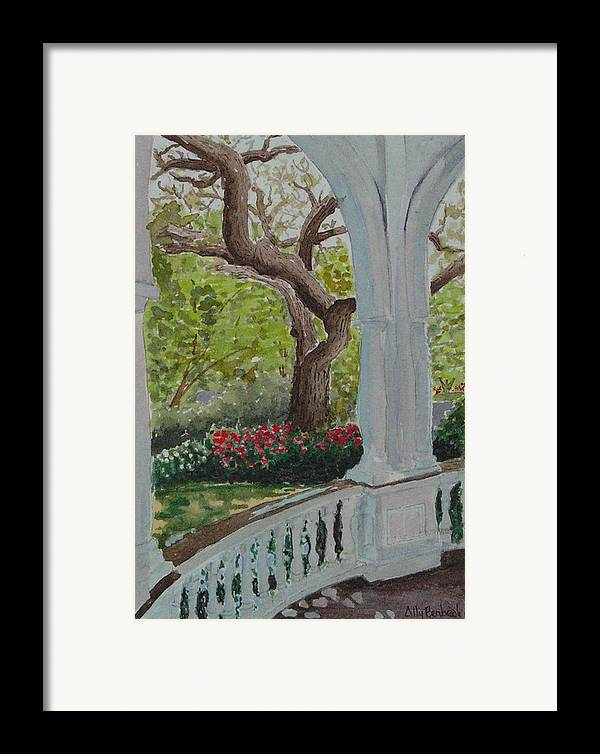 Veranda Framed Print featuring the painting Veranda by Ally Benbrook