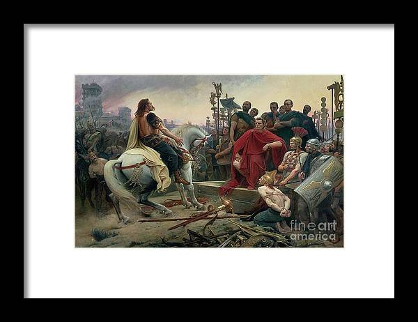 Vercingetorix Framed Print featuring the painting Vercingetorix throws down his arms at the feet of Julius Caesar by Lionel Noel Royer
